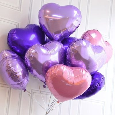 9 фольгированных сердец, 46 см