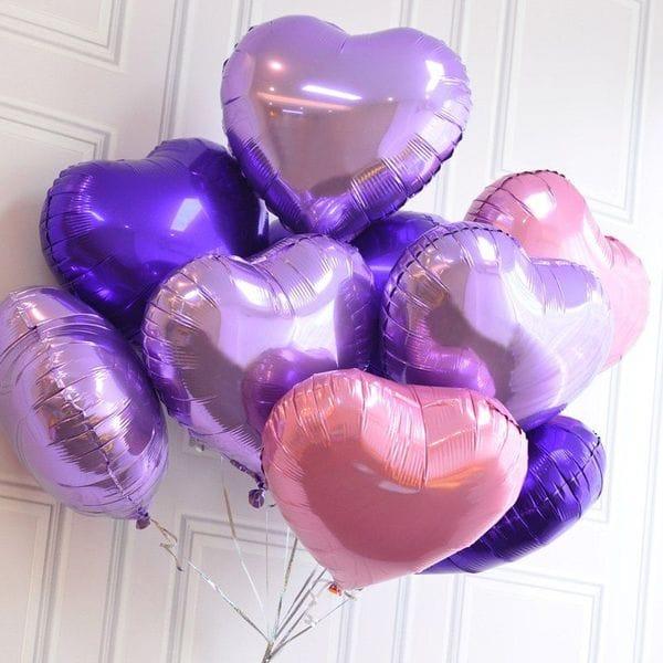 Воздушные шары. Доставка в Москве: 9 фольгированных сердец, 46 см Цены на https://sharsky.msk.ru/