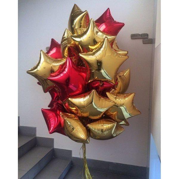 Воздушные шары. Доставка в Москве: Красные и золотые фольгированные звезды Цены на https://sharsky.msk.ru/