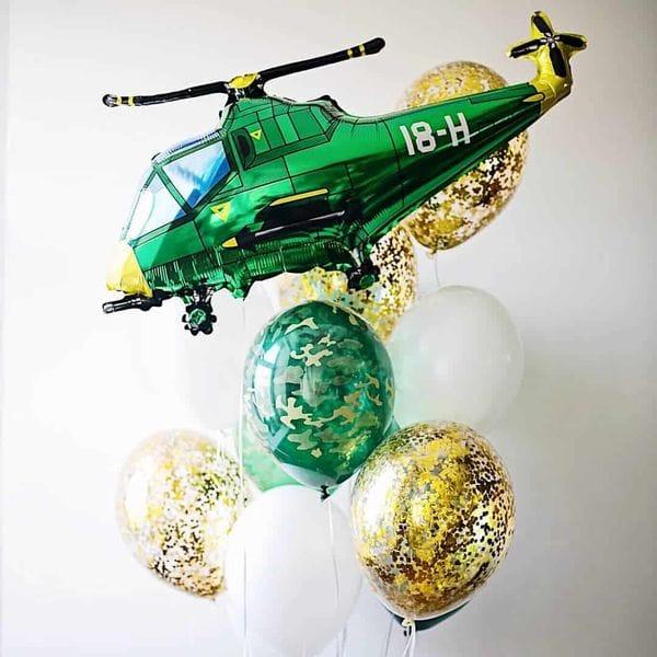 Воздушные шары. Доставка в Москве: Букет шаров с вертолетом Цены на https://sharsky.msk.ru/