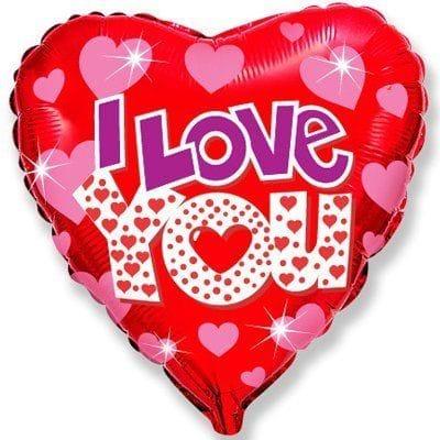 """""""I Love You"""" с сердечками, 46 см"""