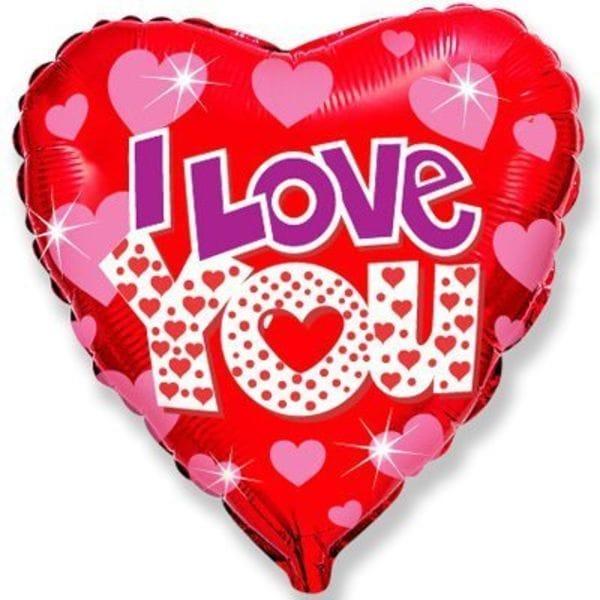 """Воздушные шары. Доставка в Москве: """"I Love You"""" с сердечками, 46 см Цены на https://sharsky.msk.ru/"""