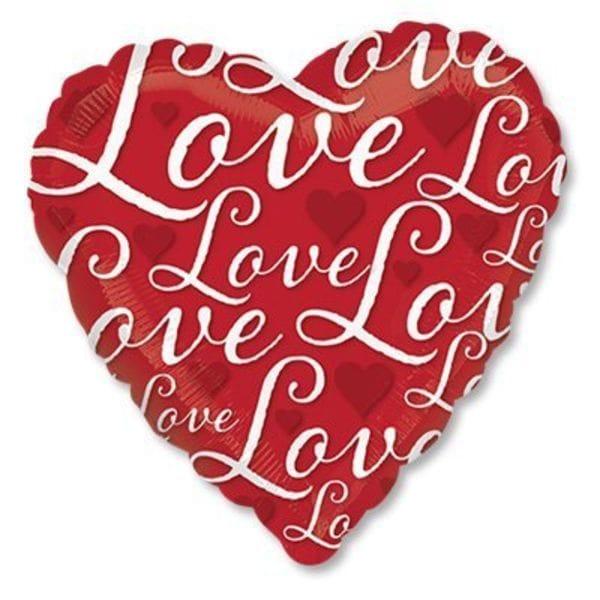 """Воздушные шары. Доставка в Москве: """"Love"""" с сердечками, 46 см Цены на https://sharsky.msk.ru/"""