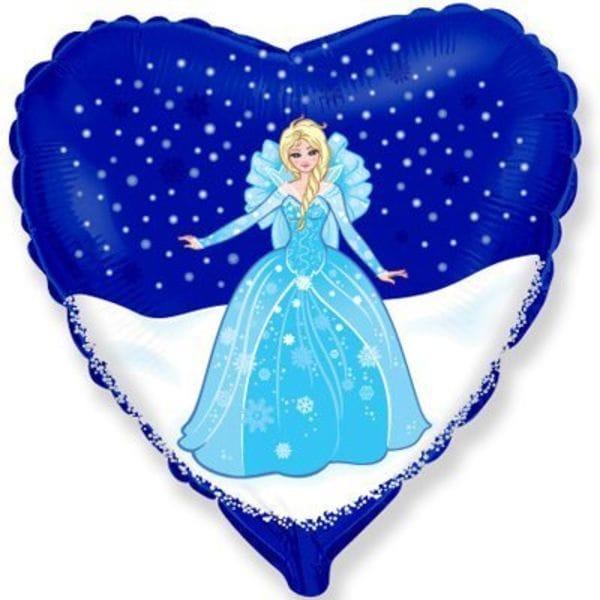Воздушные шары. Доставка в Москве: Принцесса в синем сердце, 46 см Цены на https://sharsky.msk.ru/
