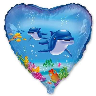 """Сердце """"Дельфины"""", 46 см"""