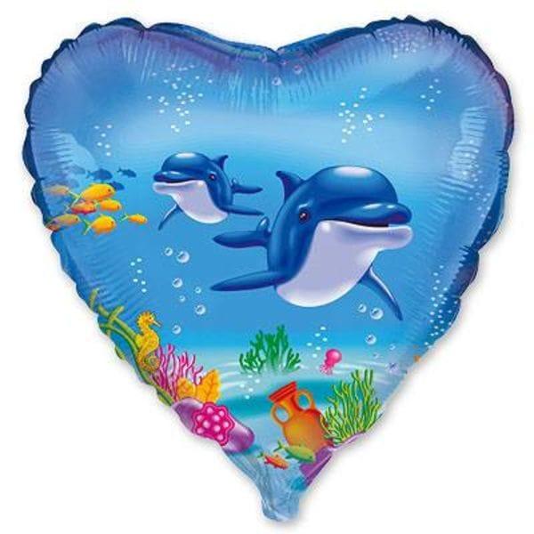 """Воздушные шары. Доставка в Москве: Сердце """"Дельфины"""", 46 см Цены на https://sharsky.msk.ru/"""