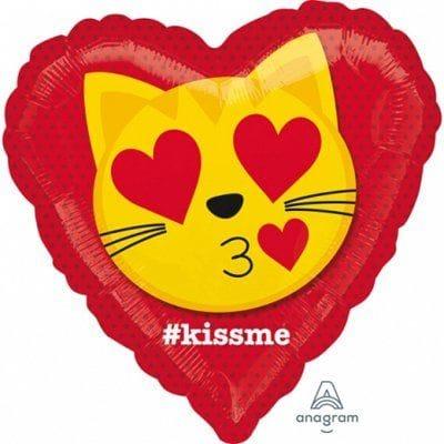"""Сердце """"Эмодзи влюбленный кот"""", 46 см"""