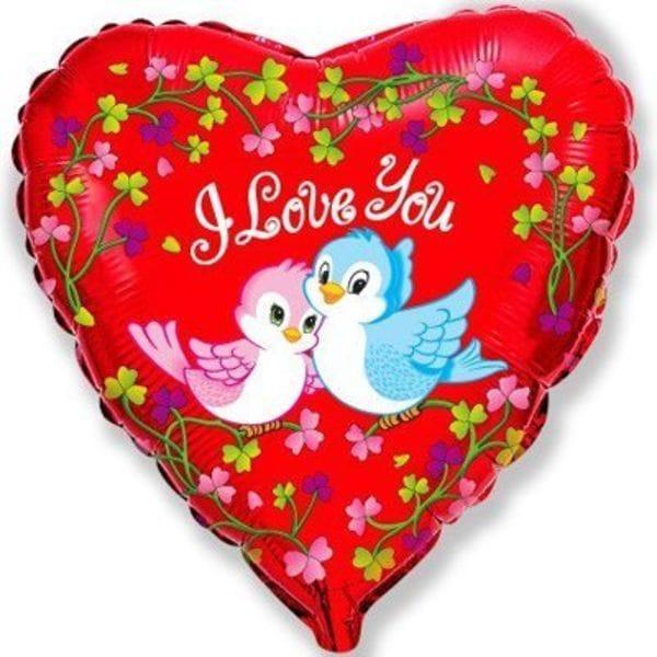 """Воздушные шары. Доставка в Москве: Сердце """"I Love You"""" птички, 46 см Цены на https://sharsky.msk.ru/"""