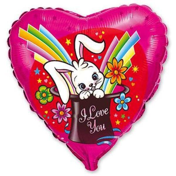 """Воздушные шары. Доставка в Москве: Сердце """"I Love You"""" с зайцем, 46 см Цены на https://sharsky.msk.ru/"""