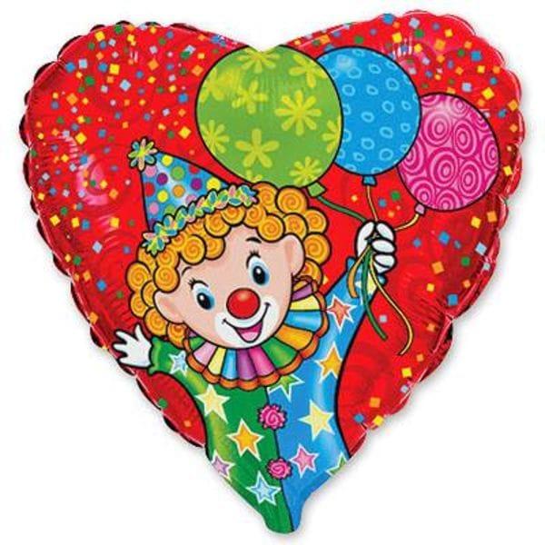 """Воздушные шары. Доставка в Москве: Сердце """"Клоун с шариками"""", 46 см Цены на https://sharsky.msk.ru/"""