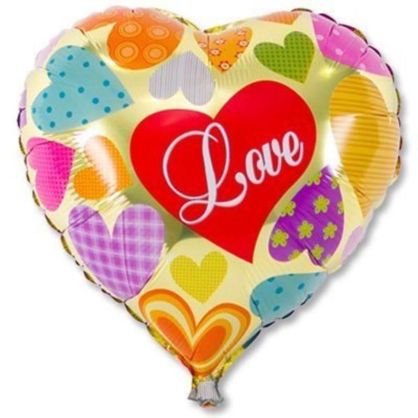 """Воздушные шары. Доставка в Москве: Сердце """"Love"""" разноцветное, 46 см Цены на https://sharsky.msk.ru/"""