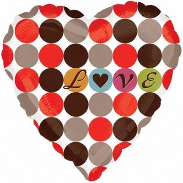 """Воздушные шары. Доставка в Москве: Сердце """"Love"""" узор в горох, 46 см Цены на https://sharsky.msk.ru/"""
