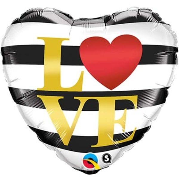 """Воздушные шары. Доставка в Москве: Сердце """"Love"""" в полоску, 46 см Цены на https://sharsky.msk.ru/"""