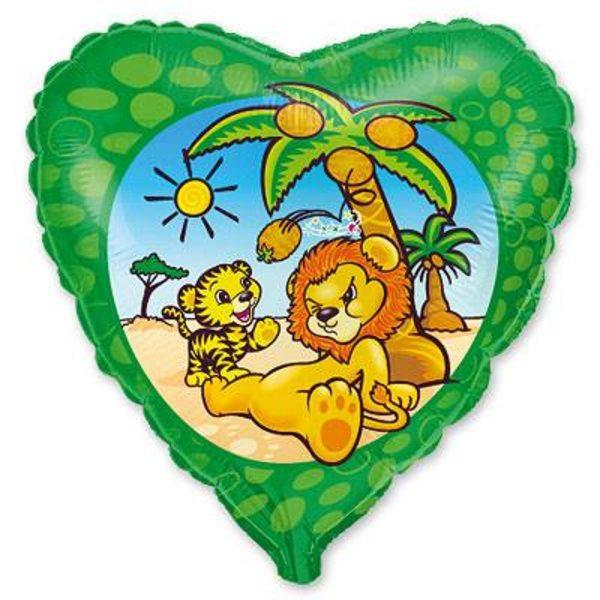 """Воздушные шары. Доставка в Москве: Сердце """"Львенок под пальмой"""", 46 см Цены на https://sharsky.msk.ru/"""