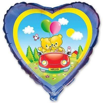 """Сердце """"Медвежата в автомобиле"""", 46 см"""