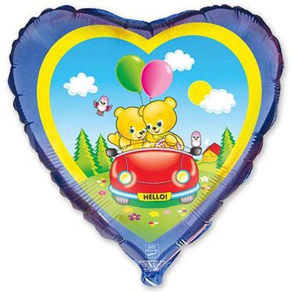 """Воздушные шары. Доставка в Москве: Сердце """"Медвежата в автомобиле"""", 46 см Цены на https://sharsky.msk.ru/"""