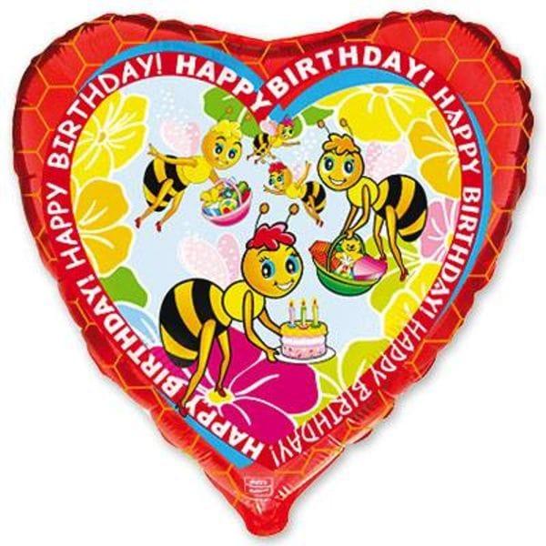 Воздушные шары. Доставка в Москве: Сердце с Пчелками, 46 см Цены на https://sharsky.msk.ru/