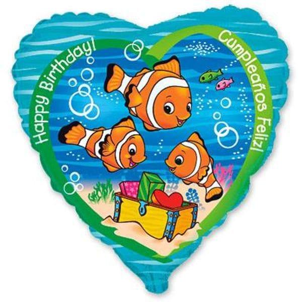 Воздушные шары. Доставка в Москве: Сердце с рыбками, 46 см Цены на https://sharsky.msk.ru/