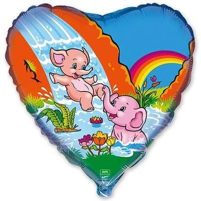 """Сердце """"Веселые слоники"""", 46 см"""
