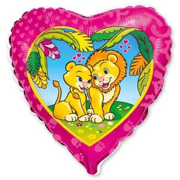 """Воздушные шары. Доставка в Москве: Сердце """"Влюбленные львы"""", 46 см Цены на https://sharsky.msk.ru/"""