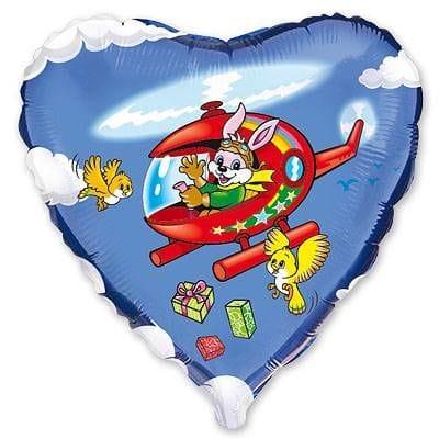 """Сердце """"Заяц на вертолете"""", 46 см"""