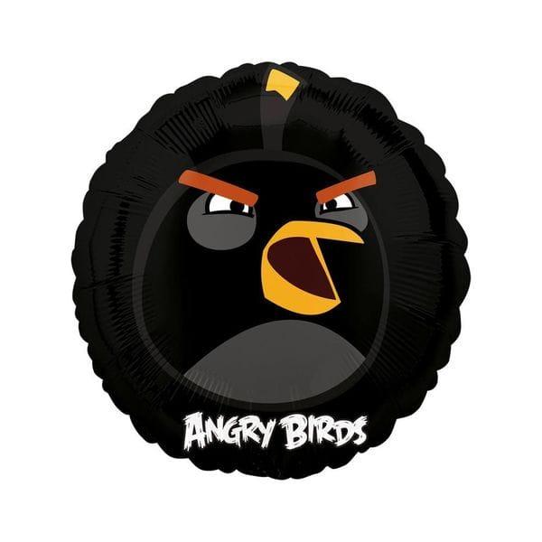 """Воздушные шары. Доставка в Москве: Круг """"Angry Birds"""" Черная птица, 46 см Цены на https://sharsky.msk.ru/"""
