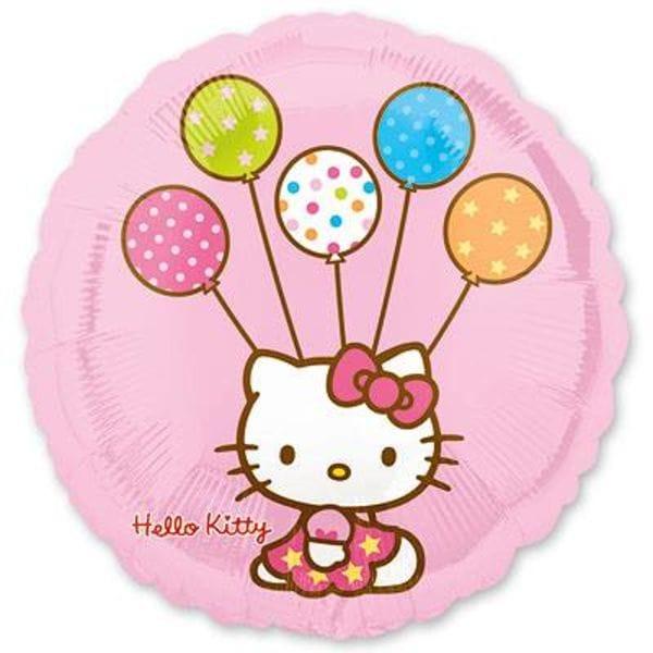 """Воздушные шары. Доставка в Москве: Круг """"Hello Kitty"""" с шариками, 46 см Цены на https://sharsky.msk.ru/"""