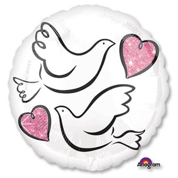 Воздушные шары. Доставка в Москве: Круг Свадебные голуби, 46 см Цены на https://sharsky.msk.ru/