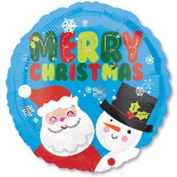 """Воздушные шары. Доставка в Москве: Merry Christmas """"Санта и снеговик"""", 46 см Цены на https://sharsky.msk.ru/"""