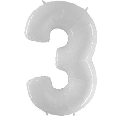 Шар белая цифра 3