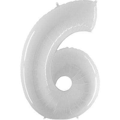 Шар белая цифра 6
