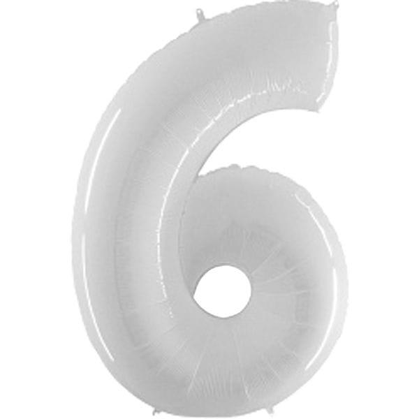 Воздушные шары. Доставка в Москве: Шар белая цифра 6 Цены на https://sharsky.msk.ru/