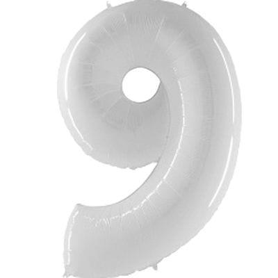 Шар белая цифра 9
