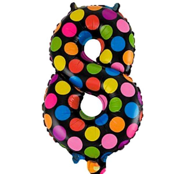 Воздушные шары. Доставка в Москве: Шар цифра в горох 8 Цены на https://sharsky.msk.ru/
