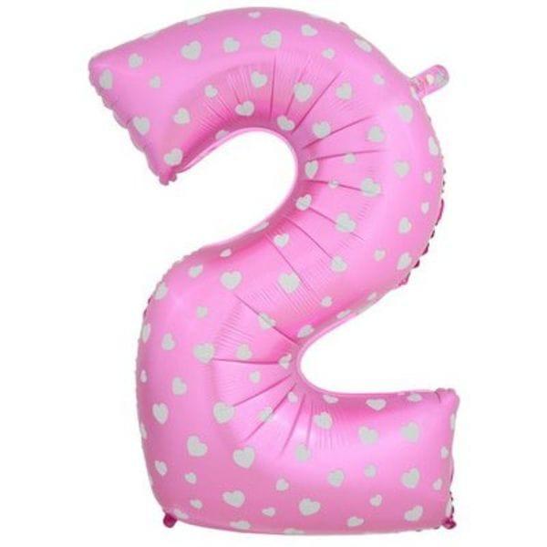 Воздушные шары. Доставка в Москве: Шар розовая цифра с сердцами 2 Цены на https://sharsky.msk.ru/