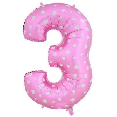 Шар розовая цифра с сердцами 3