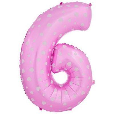 Шар розовая цифра с сердцами 6