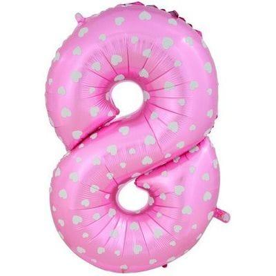 Шар розовая цифра с сердцами 8