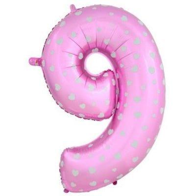Шар розовая цифра с сердцами 9