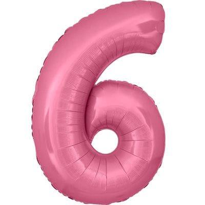 Шар розовая цифра 6
