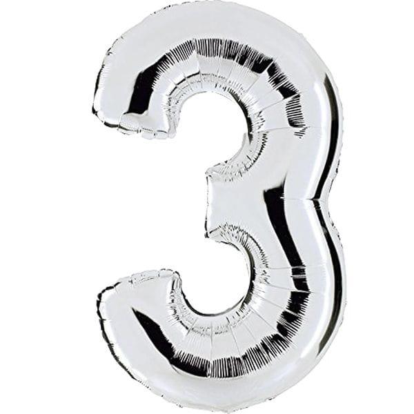Воздушные шары. Доставка в Москве: Шар серебряная цифра 3 Цены на https://sharsky.msk.ru/