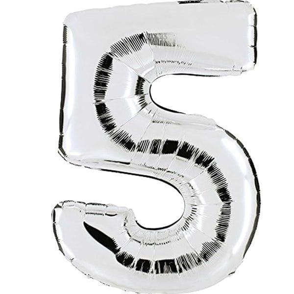 Воздушные шары. Доставка в Москве: Шар серебряная цифра 5 Цены на https://sharsky.msk.ru/