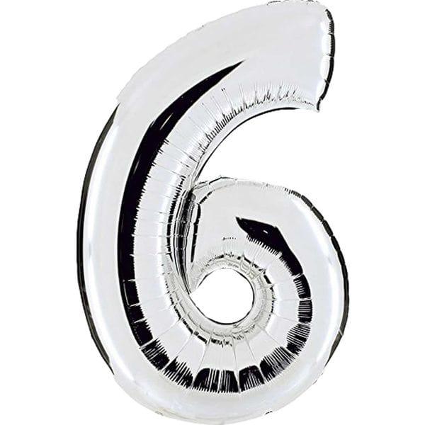 Воздушные шары. Доставка в Москве: Шар серебряная цифра 6 Цены на https://sharsky.msk.ru/