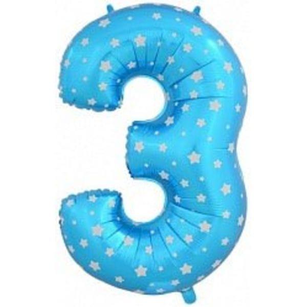 Воздушные шары. Доставка в Москве: Шар синяя цифра со звездами 3 Цены на https://sharsky.msk.ru/