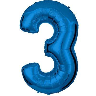 Шар синяя цифра 3