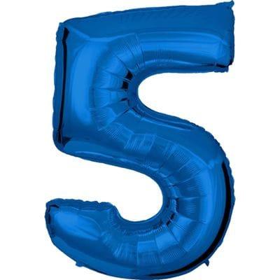 Шар синяя цифра 5