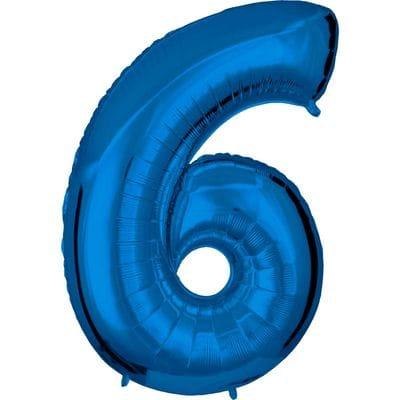Шар синяя цифра 6