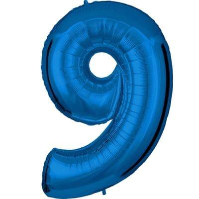 Шар синяя цифра 9