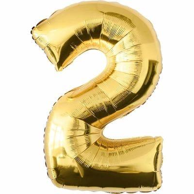 Шар золотая цифра 2
