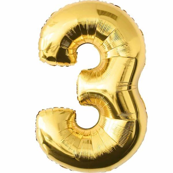 Воздушные шары. Доставка в Москве: Шар золотая цифра 3 Цены на https://sharsky.msk.ru/